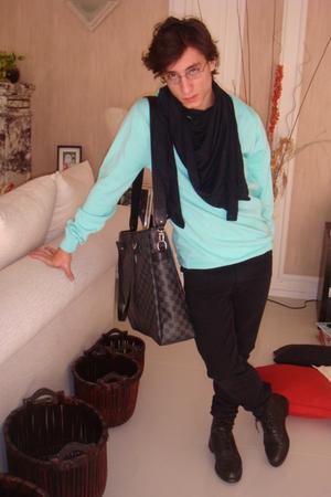 H&M sweater - American Apparel scarf - Cheap Monday jeans - Louis Vuitton access