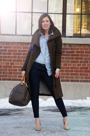 brown Louis Vuitton bag - dark brown brown wool soia & kyo coat