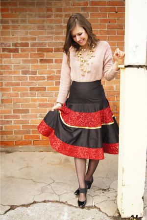 sequined Manish Arora skirt - stuart weitzman heels - soft pink Uniqlo jumper