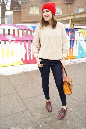 beige American Apparel sweater - dark wash J Brand jeans - red united hat