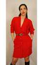 Red-vintage-from-etsy-moda-intl-dress-dark-khaki-thrifted-vintage-belt