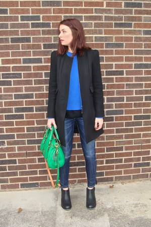 black Zara coat - navy denim Current Elliot jeans