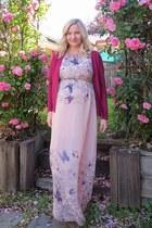 light pink Boohoo dress - magenta Ebay cardigan - camel Ipanema sandals