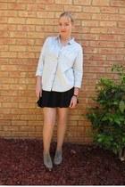 sky blue Topshop shirt - silver Airflex boots - black Topshop dress