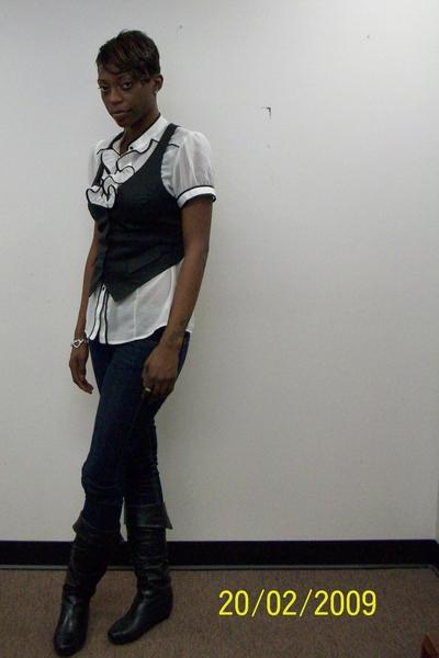Forever21 blouse - H&M vest - Bebe jeans