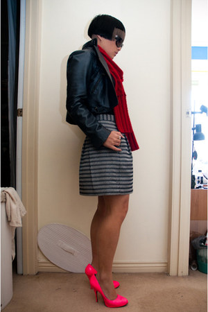 peeptoe heels - leather White Suede jacket - banana republic scarf - BCBG skirt