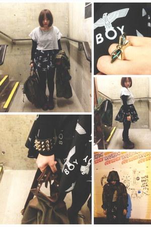Boy London skirt - Urban Outfitters coat - Cheap Monday t-shirt
