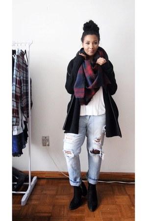 crimson Forever 21 scarf - sky blue Zara jeans - black cardigan