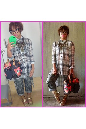 Louis Vuitton bag - chiffon Forever 21 blouse - camouflage vintage pants