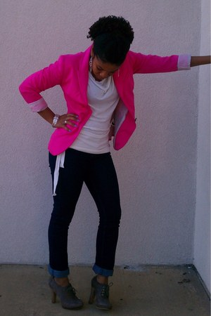 heather gray Aldo shoes - navy Forever 21 jeans - hot pink H&M blazer