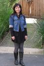 Black-uniqlo-dress-black-uniqlo-jacket-blue-d-g-jacket-gray-uniqlo-tights-