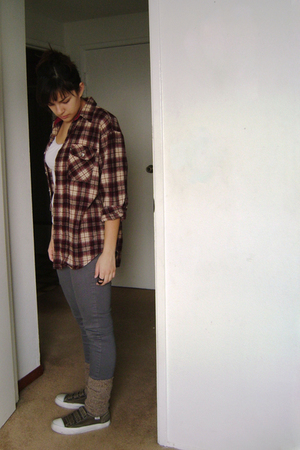 red top - white Forever21 shirt - silver Bullhead jeans - brown H&M socks - brow