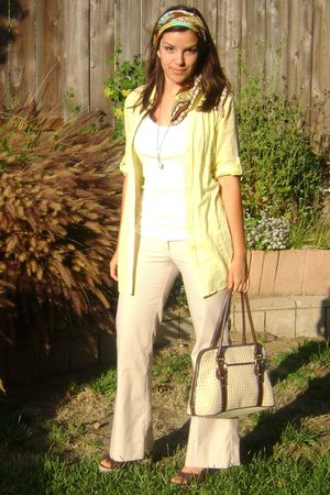 yellow H&M top - beige Charlotte Russe pants - brown shoes - green scarf - beige
