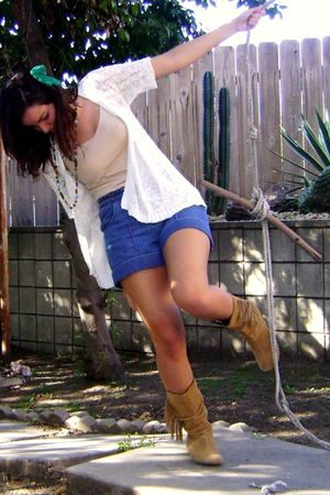 white sweater - blue Rodarte for Target shorts - beige boots
