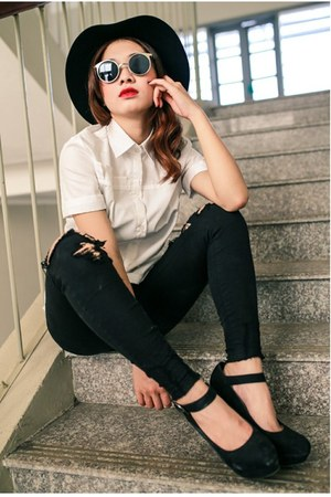 white white shirts Tailored-made blouse - black fedora candy hat