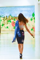 blue denim jacket YX jacket - black wedge sneakes candy sneakers