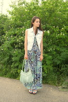 light blue Espirt vest - Bershka maxi dress