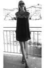 Black-sheinside-dress-black-catwalk-sandals