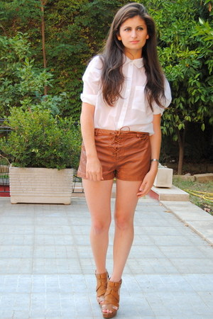 burnt orange Zara sandals - burnt orange H&M shorts - white H&M blouse