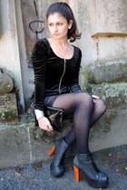 black Jeffrey Campbell boots - black H&M dress - black H&M bag