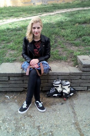 leather jacket new look jacket - Vans shoes - Mirror Fashion bag