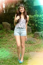 light blue Lee shorts - red Red Head top - brown Forever 21 accessories