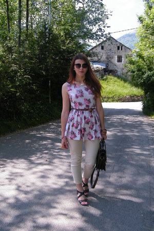 pink floral print asoscom top - brown satchel Zara bag