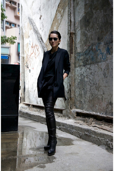 black Christian Louboutin boots - black Izzue blazer