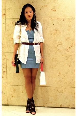 brown Giuseppe Zanotti boots - light blue denim strapless Grey Antics dress - gr
