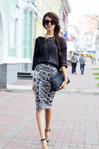 silver Mango skirt - black Mango sweater
