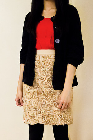 gold rosette banana republic skirt