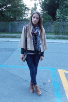 camel bad sleeves lindex coat - navy skinny fishbone jeans - floral H&M scarf