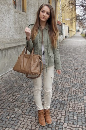 dark khaki army Amisu jacket - tan golden studs house bag