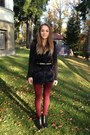 Ruby-red-burgundy-h-m-leggings-black-faux-fur-ebay-vest