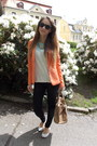 Light-orange-romwe-blazer-white-mint-c-a-shirt-black-ebay-sunglasses