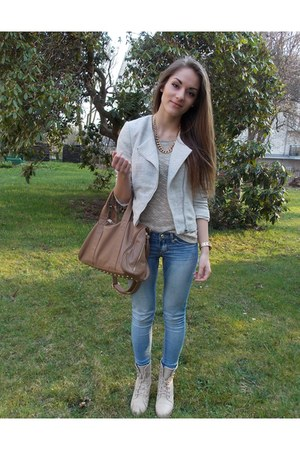 periwinkle H&M jacket - eggshell studs Jannis Shoes boots