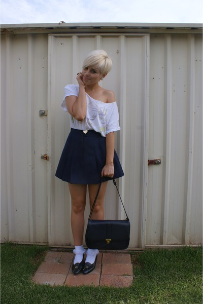 white shirt - white socks - blue skirt - blue shoes