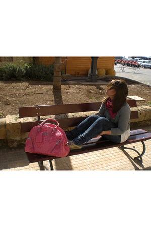 pink Guess purse - blue Zara jeans - silver Zara Man t-shirt - pink H&M Kids sca