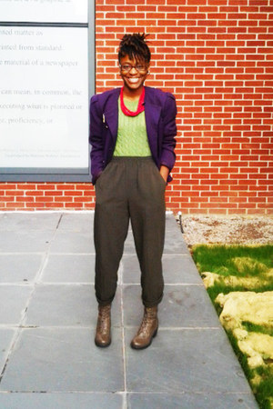 army green army green boots - chartreuse sweater - purple purple blazer