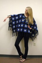 black crocheted vintage cape