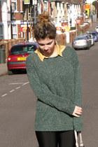 dark green Urban Outfitters jumper - beige Deena & Ozzy boots