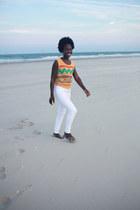 white denim American Apparel jeans - orange vest vintage shirt