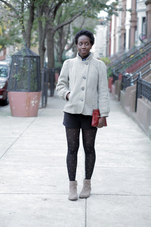 wool stripes vintage coat - suede Nine West boots - polka dots H&M tights