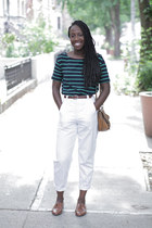 vintage shoes - striped Anthropologie shirt - vintage belt - vintage pants