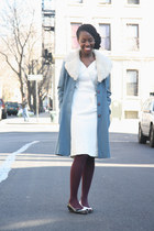 sky blue thrifted vintage coat - vintage shoes - ivory thrifted vintage dress