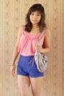 Light-purple-guess-bag-blue-forever-21-shorts-salmon-etam-top