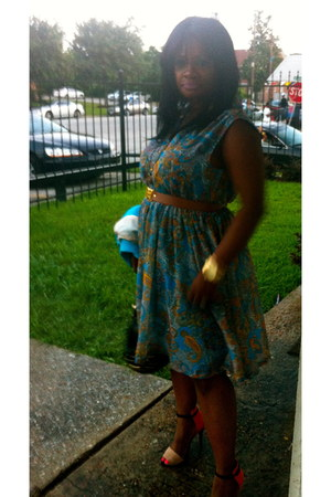turquoise blue H&M dress - light orange Zara shoes