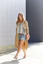 beige trench coat Aritzia coat - sky blue denim shorts Gap shorts