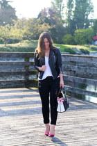 hot pink suede Diane Von Furstenberg heels - black ripped James Jeans jeans