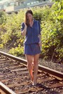 Blue-shirtdress-silk-joe-fresh-dress-silver-vintage-bag